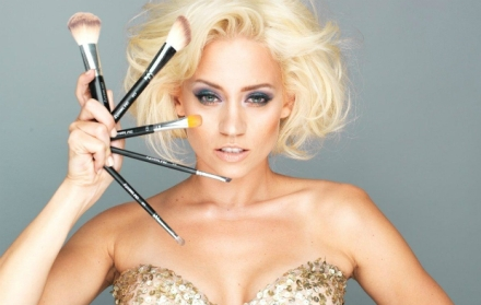 Kimberly Wyatt beauty shot with brushes FC interview by Catherine Ababio